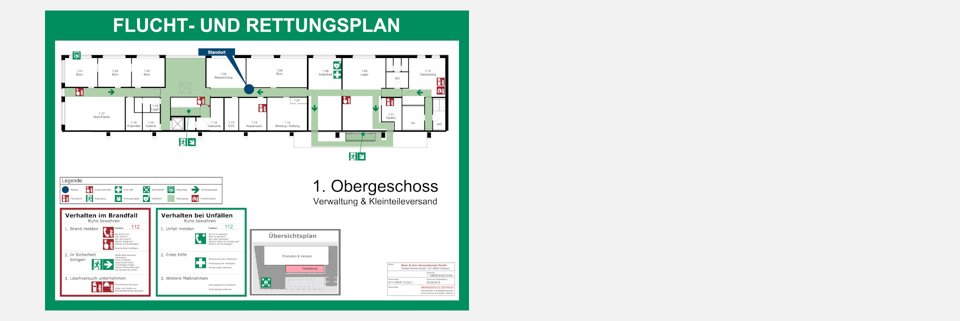 Flucht- und Rettungsplan nach DIN ISO 23 601